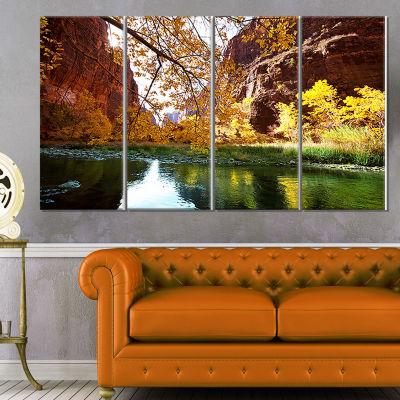 Designart Blue Lake in Yosemite Mountains Landscape Canvas Art Print - 4 Panels