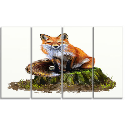 Designart the Clever Fox Illustration Animal Art on Canvas -4 Panels