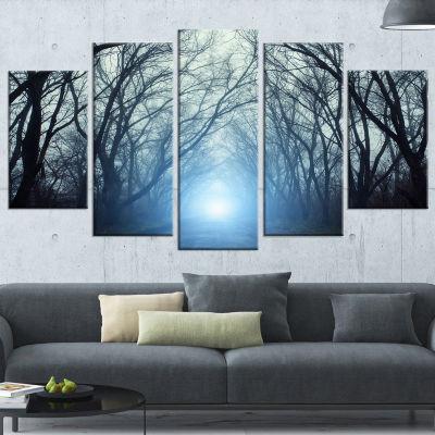 Designart Blue Light in Dark Foggy Autumn Landscape Photography Canvas Print - 4 Panels