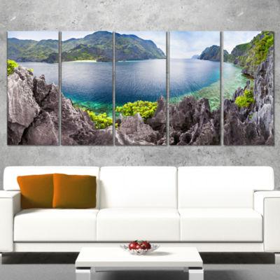 Designart the Lagoon Panorama Landscape Wrapped Art Print -5 Panels
