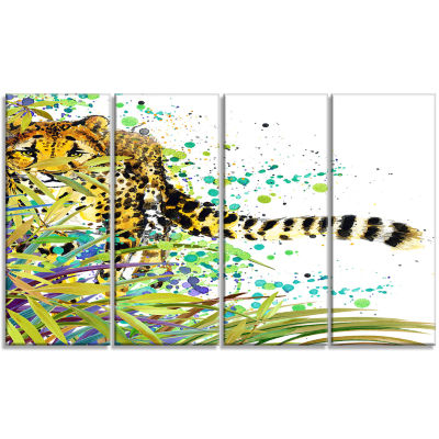 Designart the Predator Illustration Art Animal ArtPainting- 4 Panels