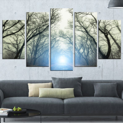 Designart Blue Light in Foggy Autumn Landscape Photo Canvas Art Print - 5 Panels