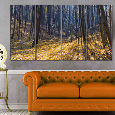 Designart Thick Autumn Forest Woods Oversized Forest CanvasArtwork - 4 Panels