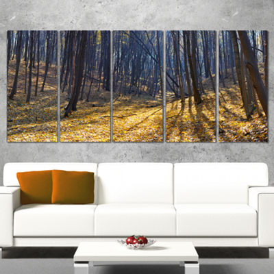 Designart Thick Autumn Forest Woods Oversized Forest WrappedArtwork - 5 Panels