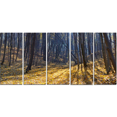 Designart Thick Autumn Forest Woods Oversized Forest CanvasArtwork - 5 Panels