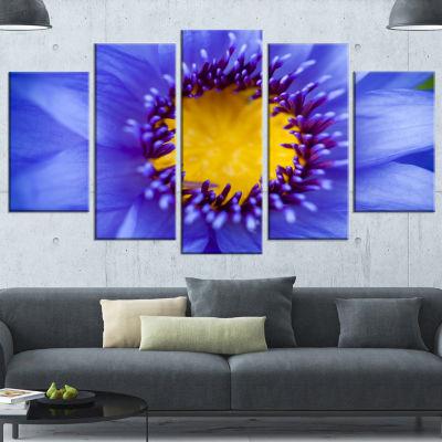 Designart Blue Lotus Close Up Watercolor FlowersCanvas WallArtwork - 5 Panels