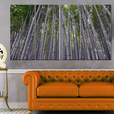 Designart Thick Bamboo Trunks in Japan Forest Canvas Wall Art Print - 4 Panels