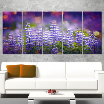 Designart Blue Lupin Flowers On Blue Background Large FlowerWrapped Canvas Art Print - 5 Panels