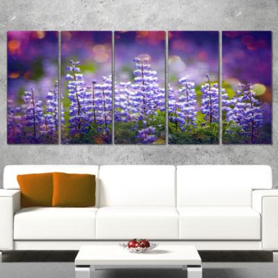 Designart Blue Lupin Flowers On Blue Background Large FlowerCanvas Art Print - 5 Panels