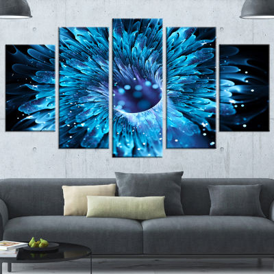 Designart Blue Magical Wormhole Fractal Large Abstract Wrapped Canvas Wall Art - 5 Panels