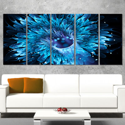 Designart Blue Magical Wormhole Fractal Large Abstract Canvas Wall Art - 5 Panels