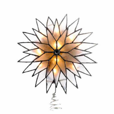 """Kurt Adler 9"""" Capiz Silver Sunburst Lighted Treetopper"""