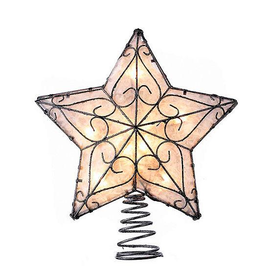 """Kurt Adler 12"""" Metal Trimmed Capiz Star Lighted Treetopper"""