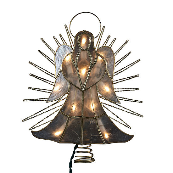 "Kurt Adler 10"" Capiz Angel With Twisted Wire Lighted Treetopper"