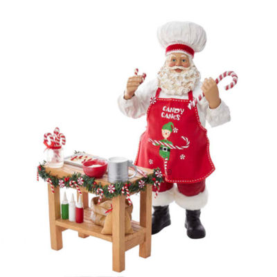 "Kurt Adler 10"" Fabriché™ Chef Santa Baking On The Table"