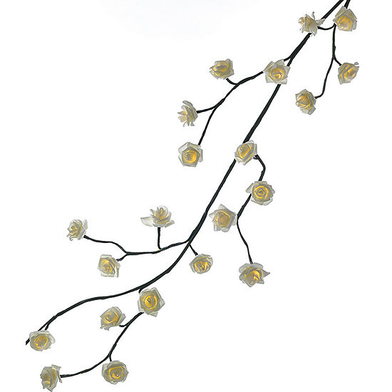 Kurt Adler 6-Foot Pre-Lit White Rose Green LED Indoor/Outdoor Garland