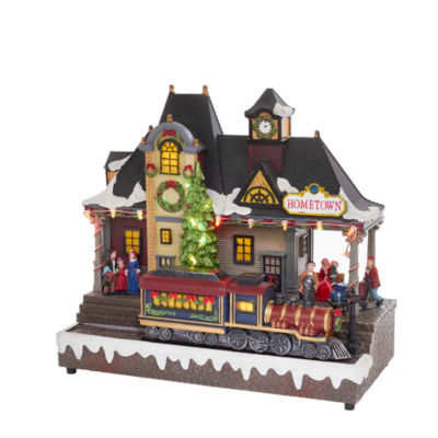 """Kurt Adler 12"""" Battery-Operated LED Musical Village with Moving Train"""