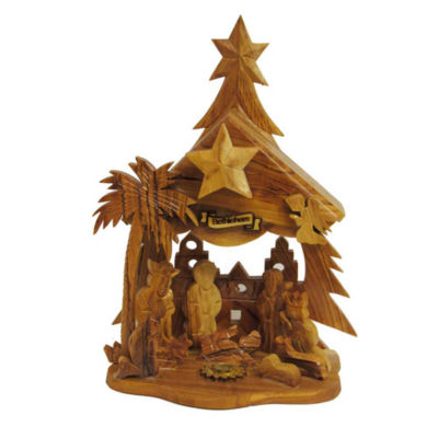"Kurt Adler 6.9"" Olive Wood Nativity Music Box"