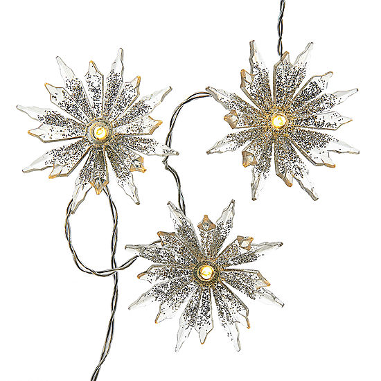 Kurt Adler Battery-Operated 10-Light Warm White Snowflake LED Light Set