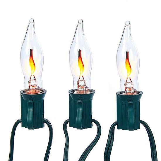Kurt Adler Flicker Flame Clear Indoor/Outdoor String Lights