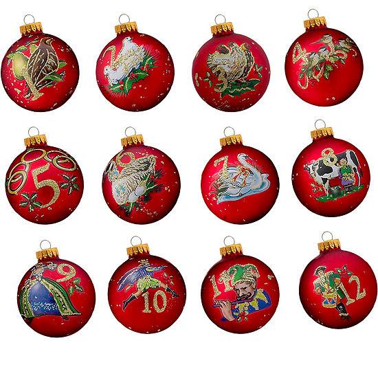 Kurt Adler 65MM Twelve Days Of Christmas Decorative Glass Ball Ornaments, 12-Piece Box Set
