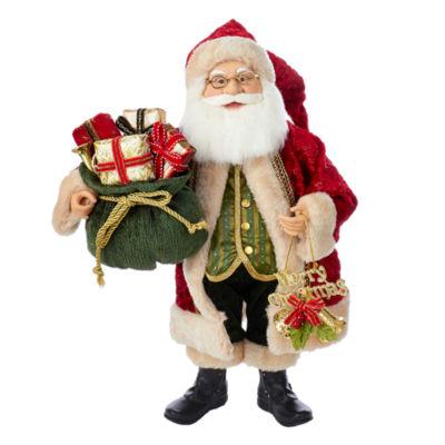 """Kurt Adler 18"""" KSA Kringles Red, Beige and Green Santa With Gift Bag"""