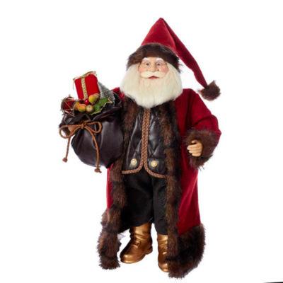 "Kurt Adler 18"" KSA Kringles Red and Brown Santa With Gift Bag"