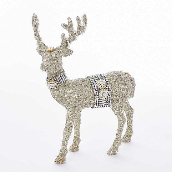 "Kurt Adler 12.5"" Vintage Glamour Small Platinum Reindeer Table Piece"