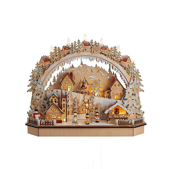 "Kurt Adler 18"" Battery-Operated Lighted LED Wooden Village House With Ice Skiers"