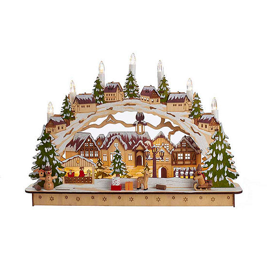 "Kurt Adler 17.5"" Battery-Operated Lighted LED Wooden Village House"