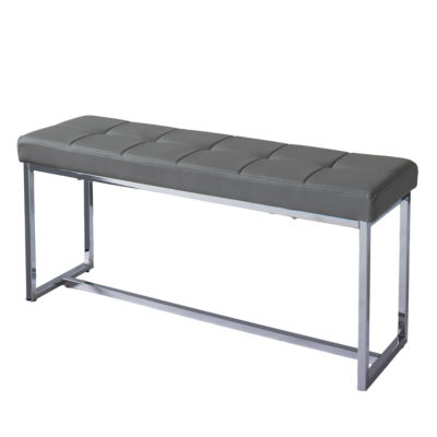 CorLiving Huntington Modern Leatherette Bench with Chrome Base