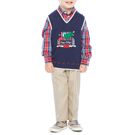 IZOD 3-pc. Sweater Vest Set Toddler Boys