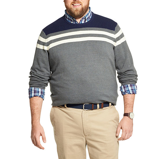 IZOD Big and Tall Striped Crewneck Sweater