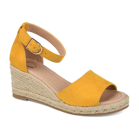 Rockabilly Shoes- Heels, Pumps, Boots, Flats Journee Collection Womens Keana Wedge Sandals 7 12 Medium Yellow $56.24 AT vintagedancer.com