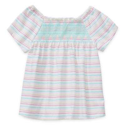 Okie Dokie Toddler Girls Square Neck Short Sleeve T-Shirt
