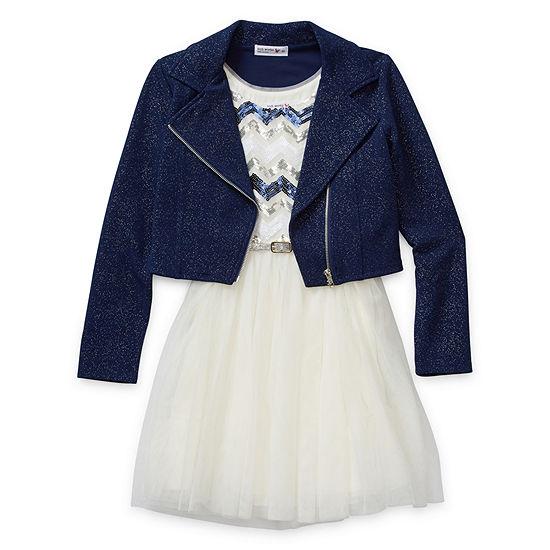 Knit Works Girls 2-pc. Jacket Dress - Preschool / Big Kid