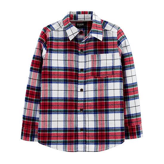 Oshkosh Boys Long Sleeve Button-Front Shirt Preschool / Big Kid
