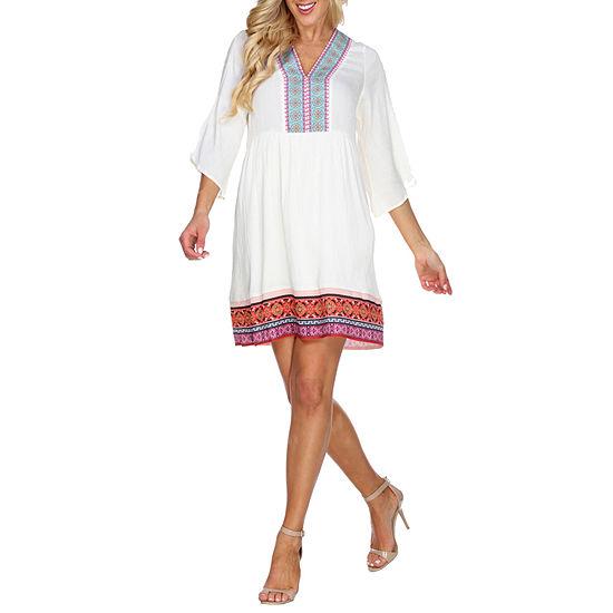 White Mark Gabrielle 3/4 Sleeve Bordered Sheath Dress