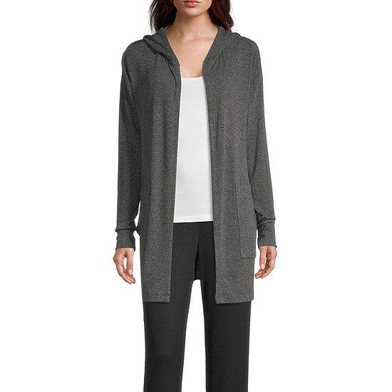 Ambrielle Hooded Womens Long Sleeve Short Length Robe