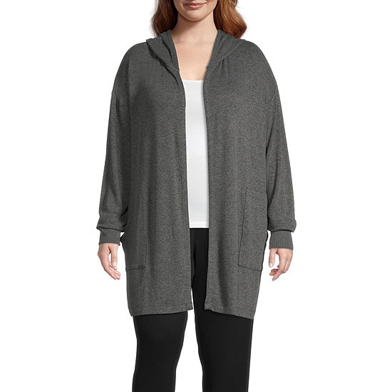 Ambrielle Hooded Womens-Plus Long Sleeve Short Length French Terry Robe