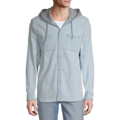 Arizona Mens Hooded Neck Long Sleeve Button-Down Shirt