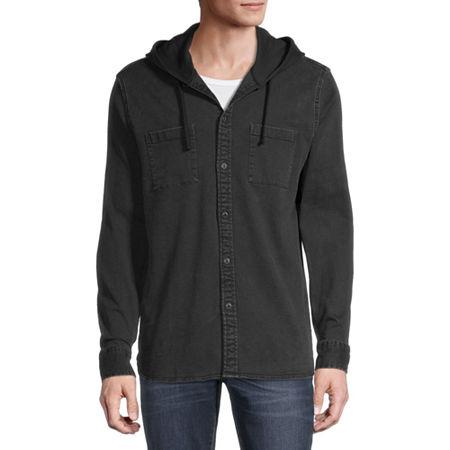 Arizona Mens Hooded Neck Long Sleeve Button-Down Shirt, Large , Black