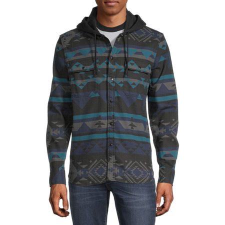 Arizona Mens Hooded Neck Long Sleeve Flannel Shirt, Small , Black