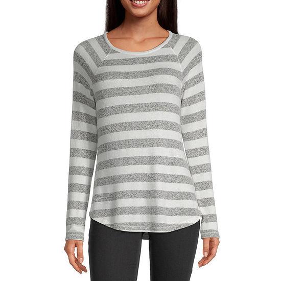 Liz Claiborne-Womens Round Neck Long Sleeve T-Shirt