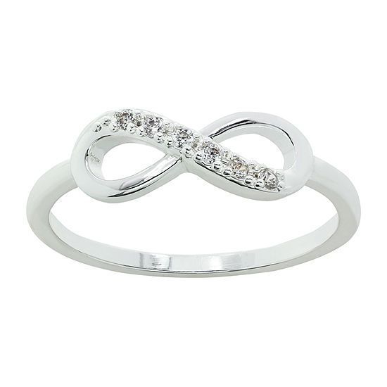 Sparkle Allure Infinity Cubic Zirconia Pure Silver Over Brass Delicate Cocktail Ring