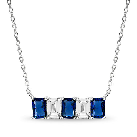 Silver Treasures Sapphire Sterling Silver 16 Inch Rolo Rectangular Pendant Necklace