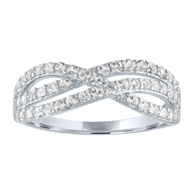 LIMITED TIME SPECIAL! Womens Lab Created White Sapphire Sterling Silver Crossover Cocktail Ring