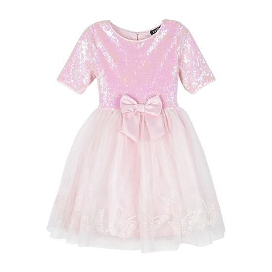 Lilt Toddler Girls Elbow Sleeve Tutu Dress