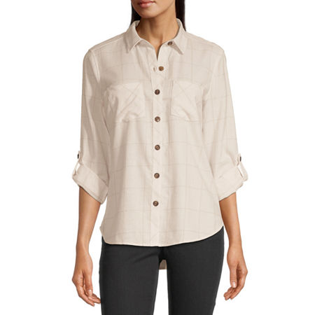 a.n.a Womens Long Sleeve Flannel Blouse, Small , Beige