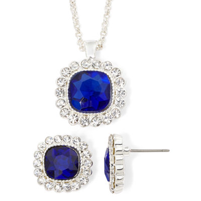 Monet® Blue Silver-Tone Necklace and Earring Set